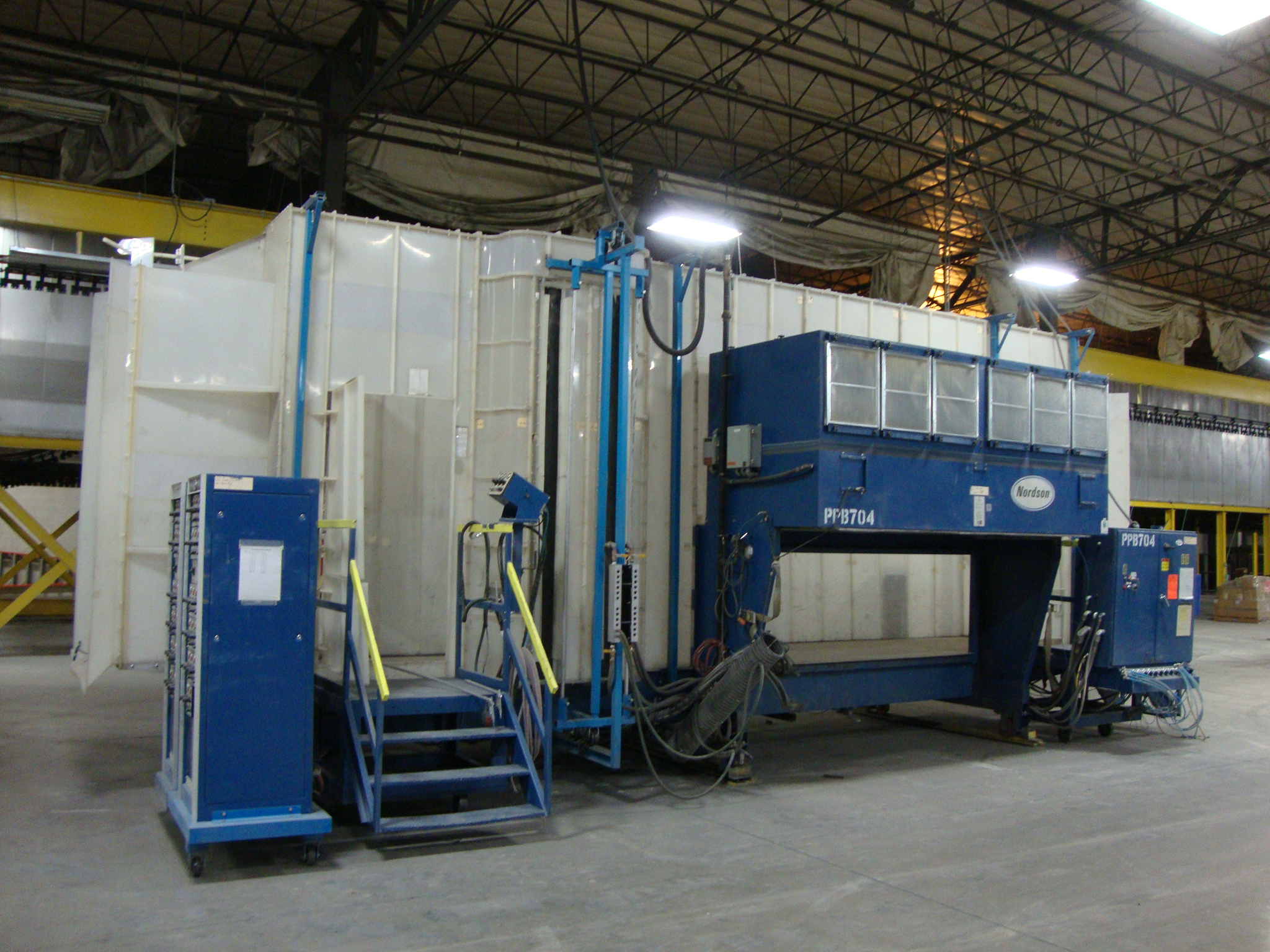 Used 3 w x 8 5 h powder coating booth with guns by buy for Powder coating paint booth
